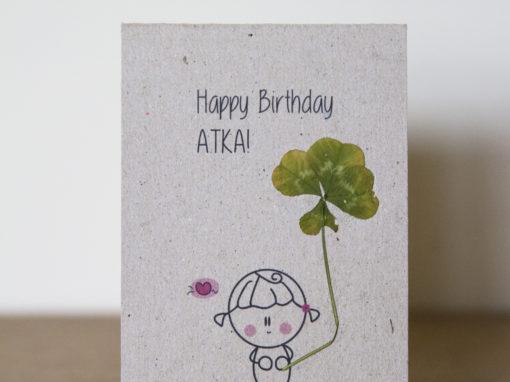 Kartka urodzionowa – czterolistna kończyna