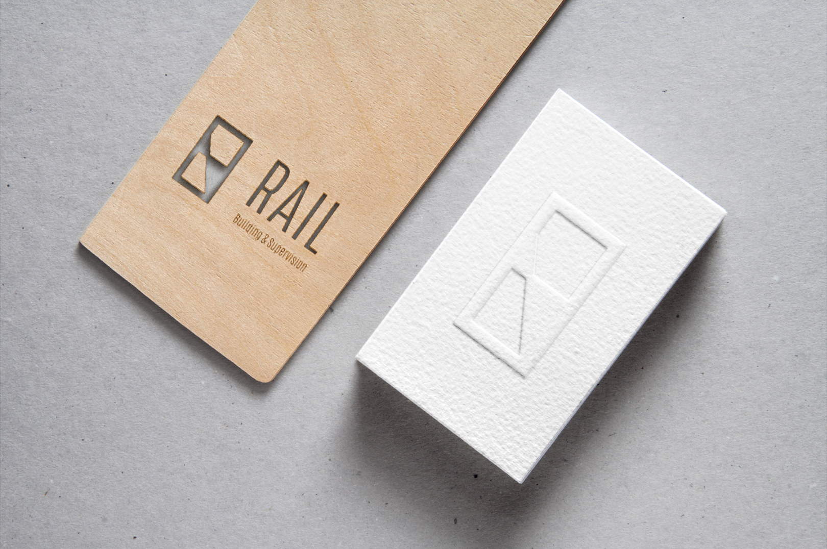 rail-Cutout Wood & Embossed B-Card MockUp